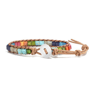 Slim Multicolored Duo Wrap Metal Button Bracelet (Unisex)