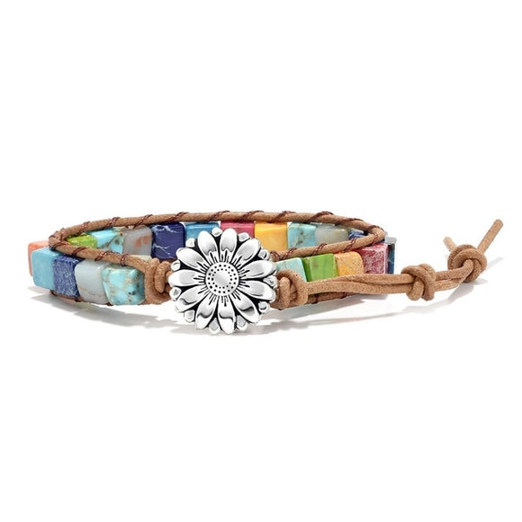 Slim Multicolor Natural Stone Flower Charm Wrap Bracelet (Unisex)