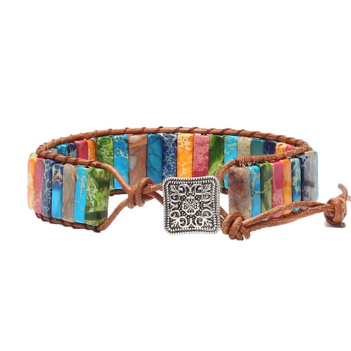 Multicolor Natural Stone Metal Charm Wrap Bracelet (Unisex)