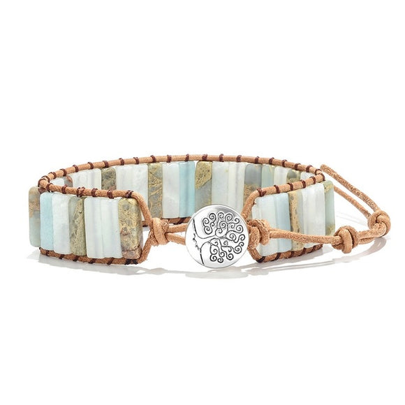 Pastel Natural Stone Tree of Life Charm Wrap Bracelet (Unisex)