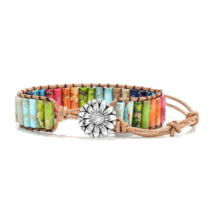 Crackled Multi Colored Duo Flower Charm Bracelet (Unisex)