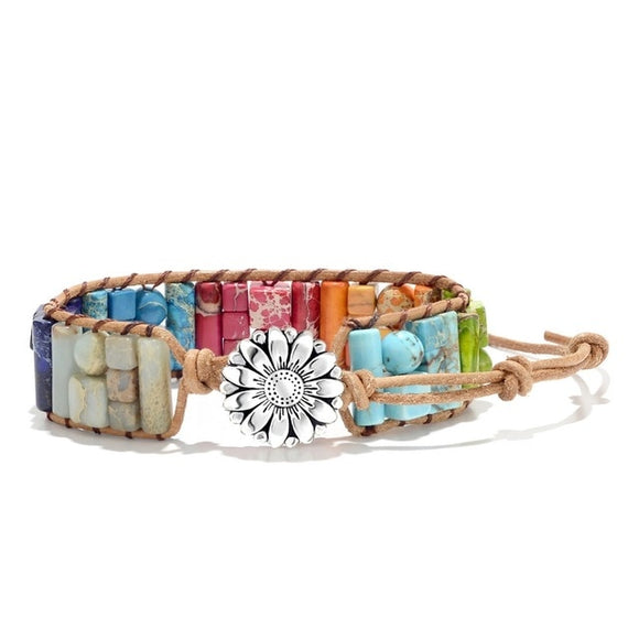 Multi Colored Mosaic Flower Charm Bracelet (Unisex)