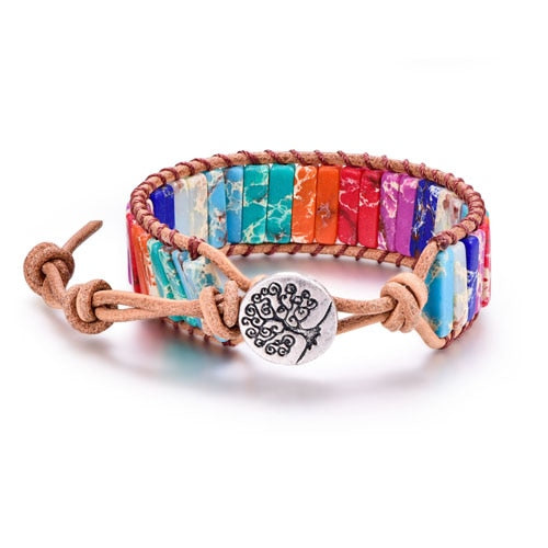 Multi Colored Natural Stone Tree of Life  Wrap Bracelet (Unisex)