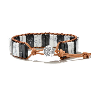 Two Tone Duo Natural Stone Small Tree of Life Wrap Bracelet (Unisex)