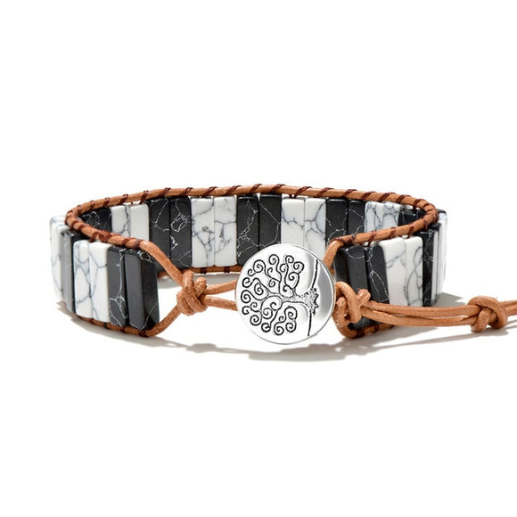 Two Tone Duo Natural Stone Tree of Life  Wrap Bracelet (Unisex)