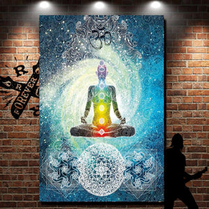 Chakra Collage Tapestry - wall art illuminated against brick