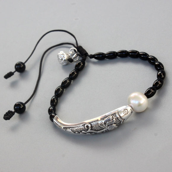 Silver Lucky Fish bracelet with lotus clasp