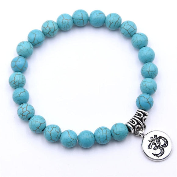 Turquoise 8mm beaded bracelet with Om charm