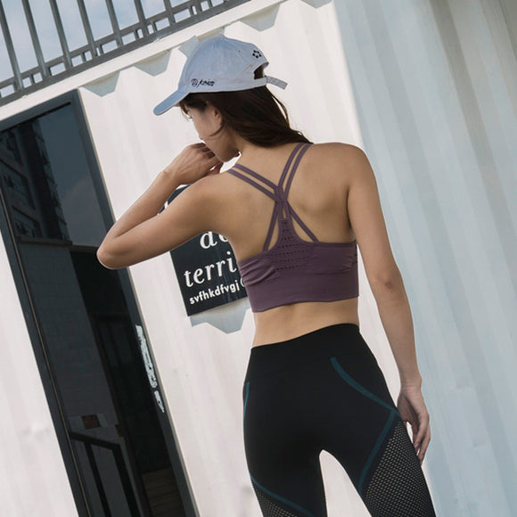 Cross back yoga bra - back