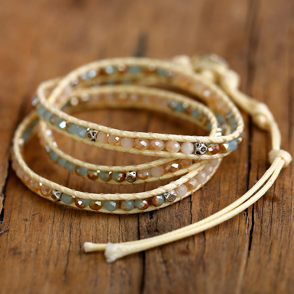 Beachcomber Stone Leather Wrap Bracelet