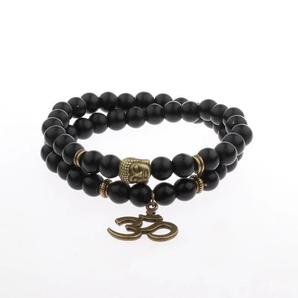 Smooth Black 8mm Beaded Ohm Bracelet