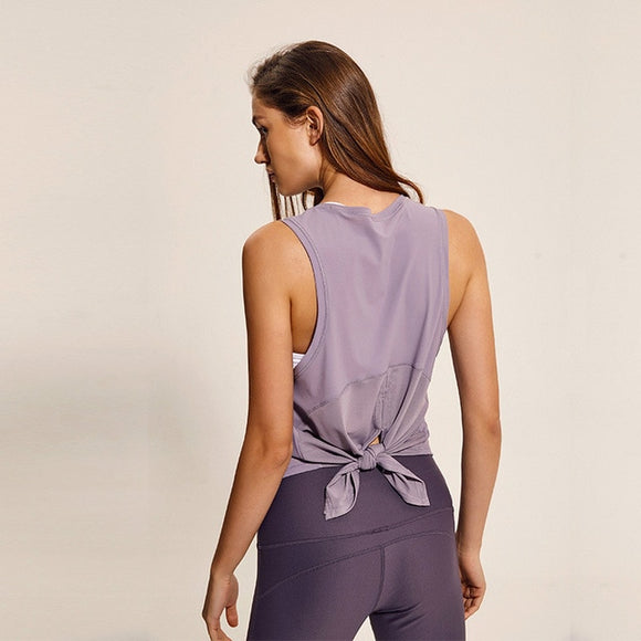 Mesh Patchwork Loose Yoga Top in gray dawn - back view