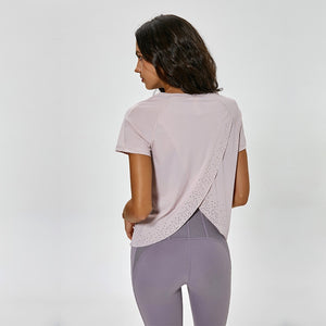 Pretty Little Overlapped Back Women's Top - back view in pink
