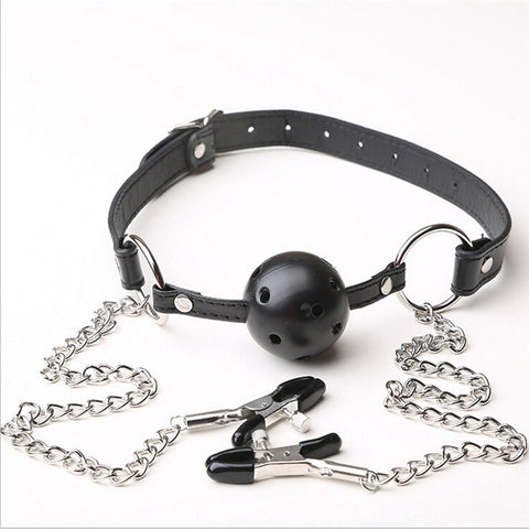 Nooky Club Nipple Clamps & Mouth Gag - Steel