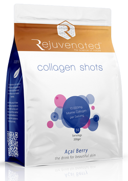 330g Re-Sealable Bag of Acai Berry Rejuvenated Marine Collagen Shots. 30 Servings.