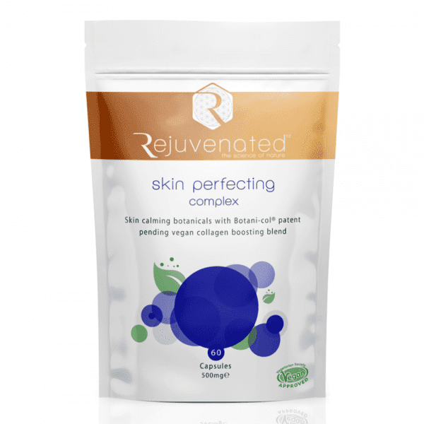 500 milligram bag of vegan approved Rejuvenated Skin Perfecting Complex. 60 Capsules.