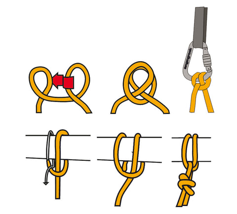 How to tie clove hitch illustration