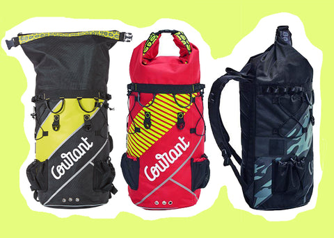 Courant Dock bag line up, flash lemon, rescue red and tactical black for rope access or rock climbing