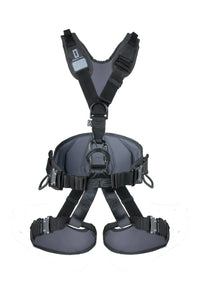 Front of Lightweight Full Body Rope Access Harness in black