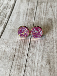 12mm Sparkly Purple/Pink - Rose Gold Setting