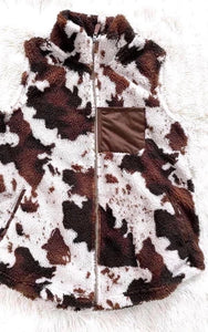 Cow Print Sherpa Vest