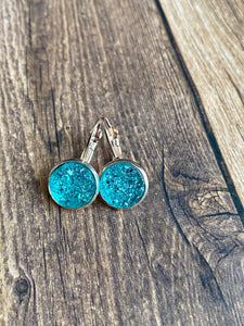 12mm Ocean Blue Leverback Druzy