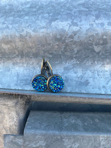 12mm Mixed Blue Druzy Leverback