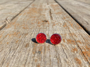 12mm Translucent Red Druzy
