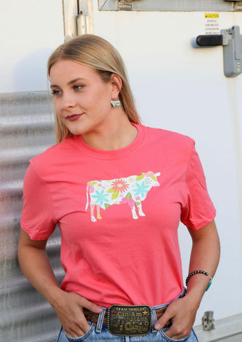 Floral Cow Tee