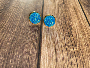 12mm Sparkly Blue - Gold Setting