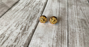 8mm Gold Druzy- Rose Gold Setting