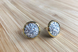 12mm Silver Druzy Dome - Gold setting