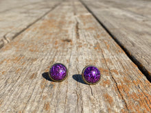 Load image into Gallery viewer, 12mm Purple Confetti Stud