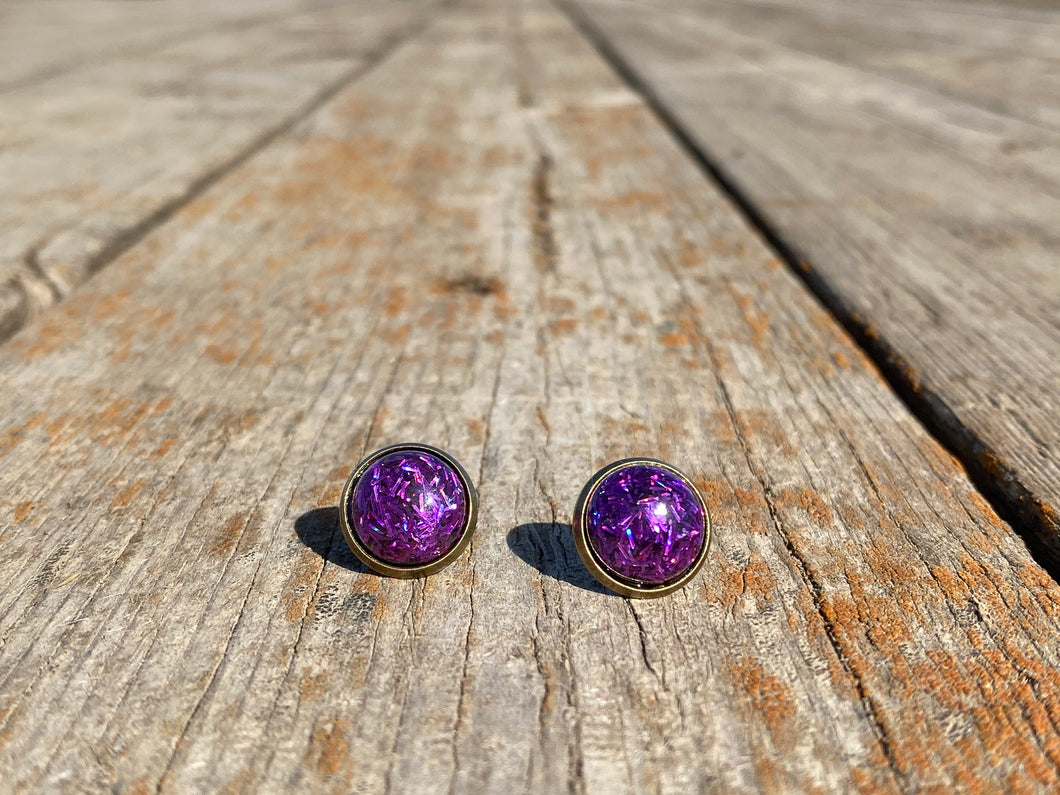 12mm Purple Confetti Stud