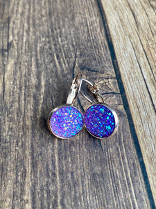 12mm Sparkly Purple Leverbacks