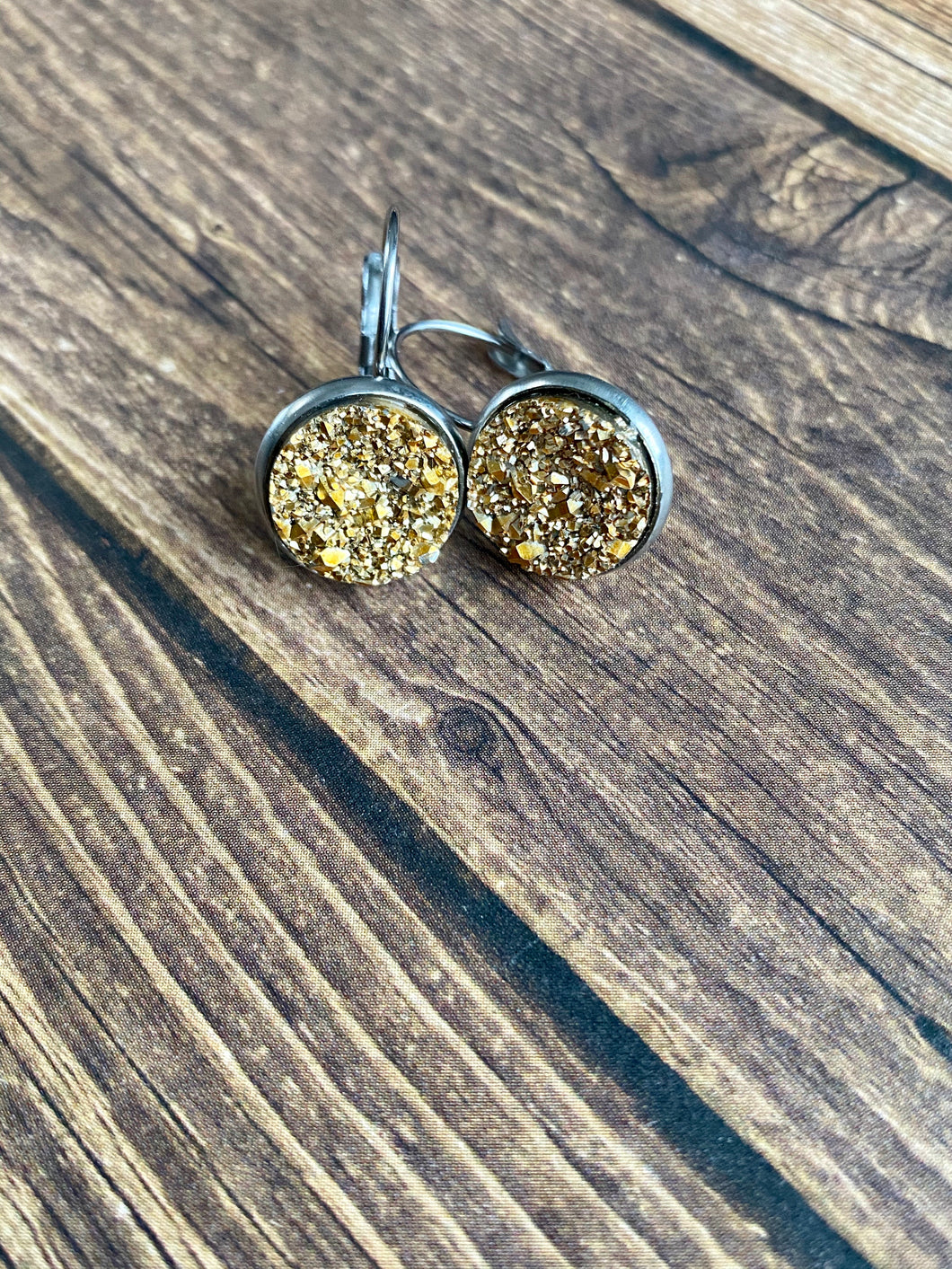 12mm Gold Druzy Leverback