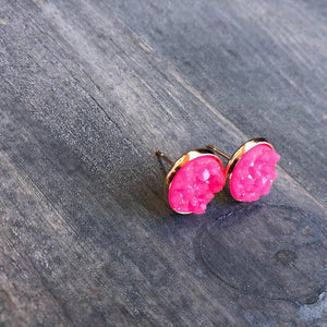 12mm Pink Druzy - Gold Setting
