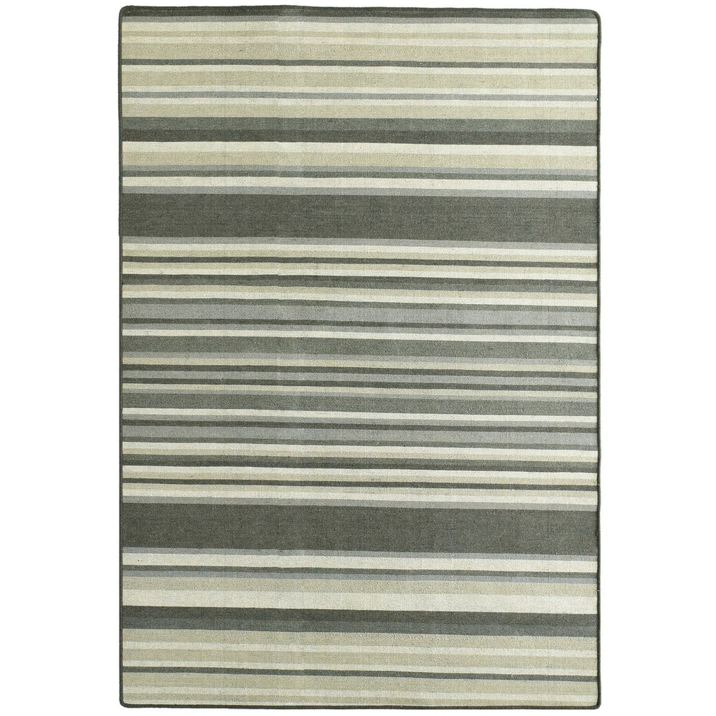 Wool Area Rug Stripes Dark Grey Beige iCustomRug