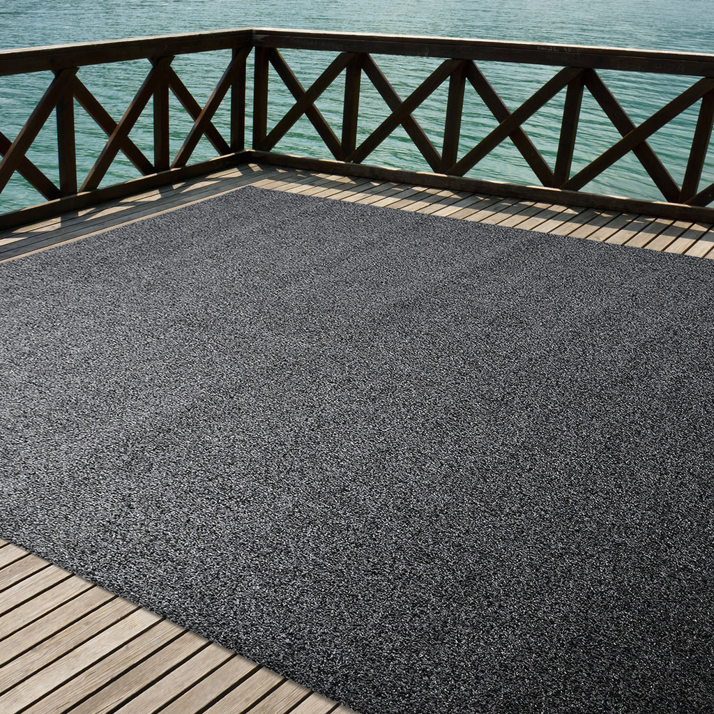 Artificial Turf Outdoor Area Rug Black and Grey