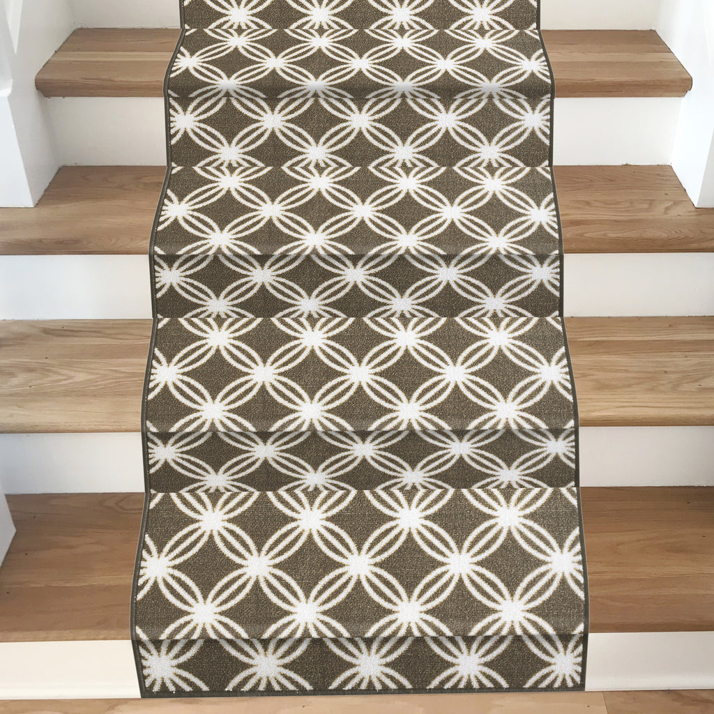 Decorative Area Rug and Carpet Runner for Stairs and Hallway, 8 Patterns - Customizable Lengths, Non-Skid Rubber Back, Trellis, Brown.