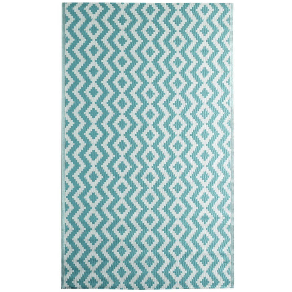 Reversible Outdoor Rug Aztec Aqua iCustomRug