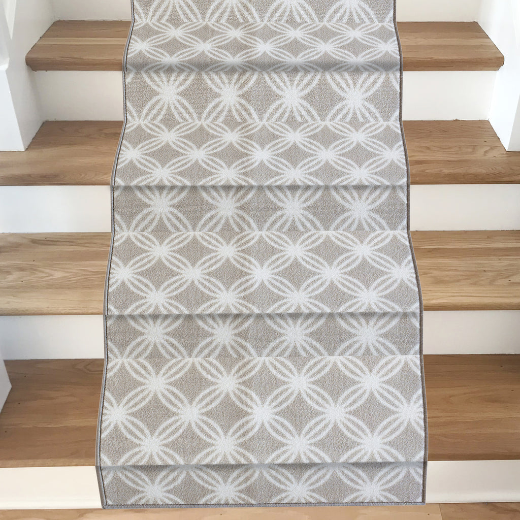 Decorative Area Rug and Carpet Runner for Stairs and Hallway, 8 Patterns - Customizable Lengths, Non-Skid Rubber Back, Trellis, Taupe.