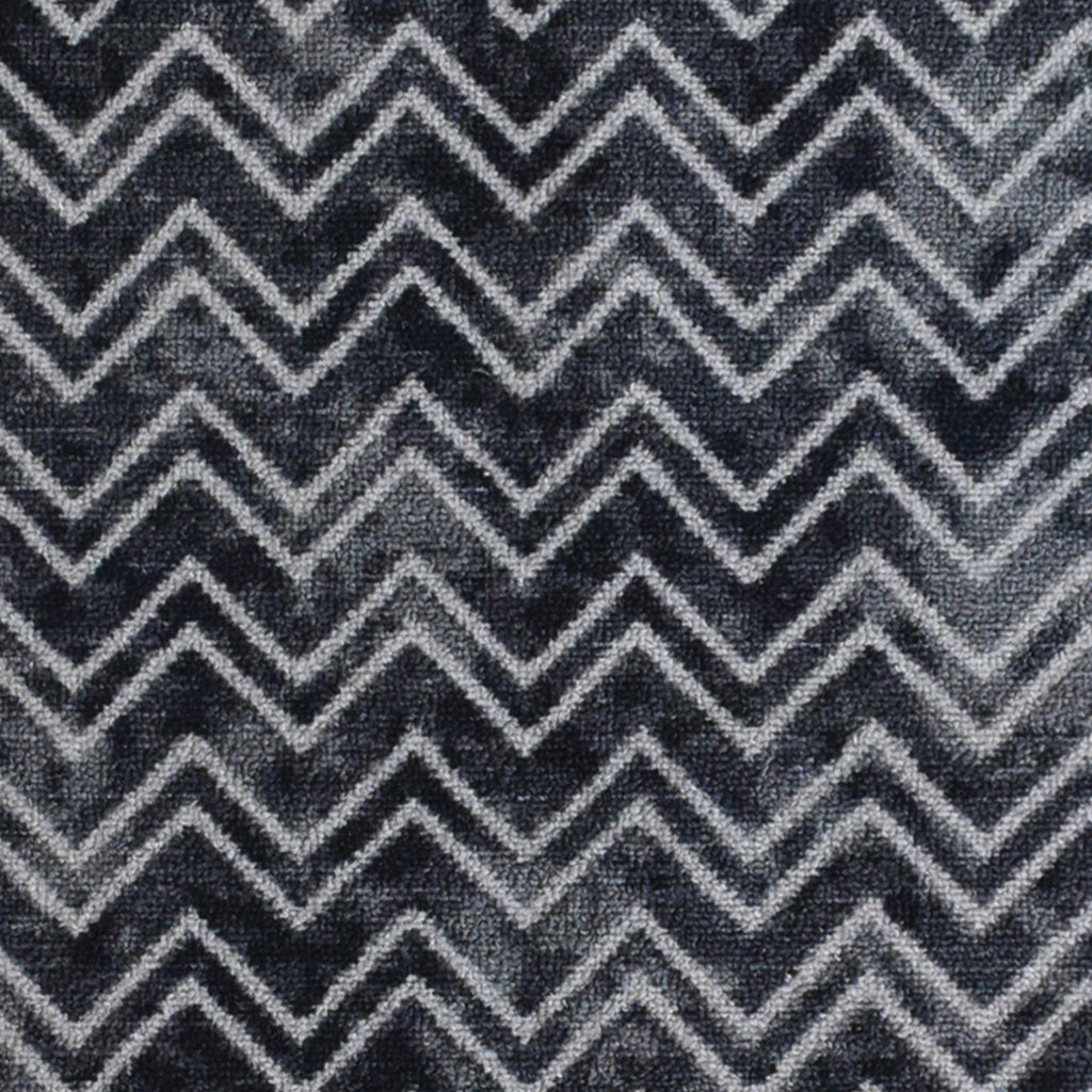 Decorative Area Rug and Carpet Runner for Stairs and Hallway, 8 Patterns - Customizable Lengths, Non-Skid Rubber Back, Chevron, Black.