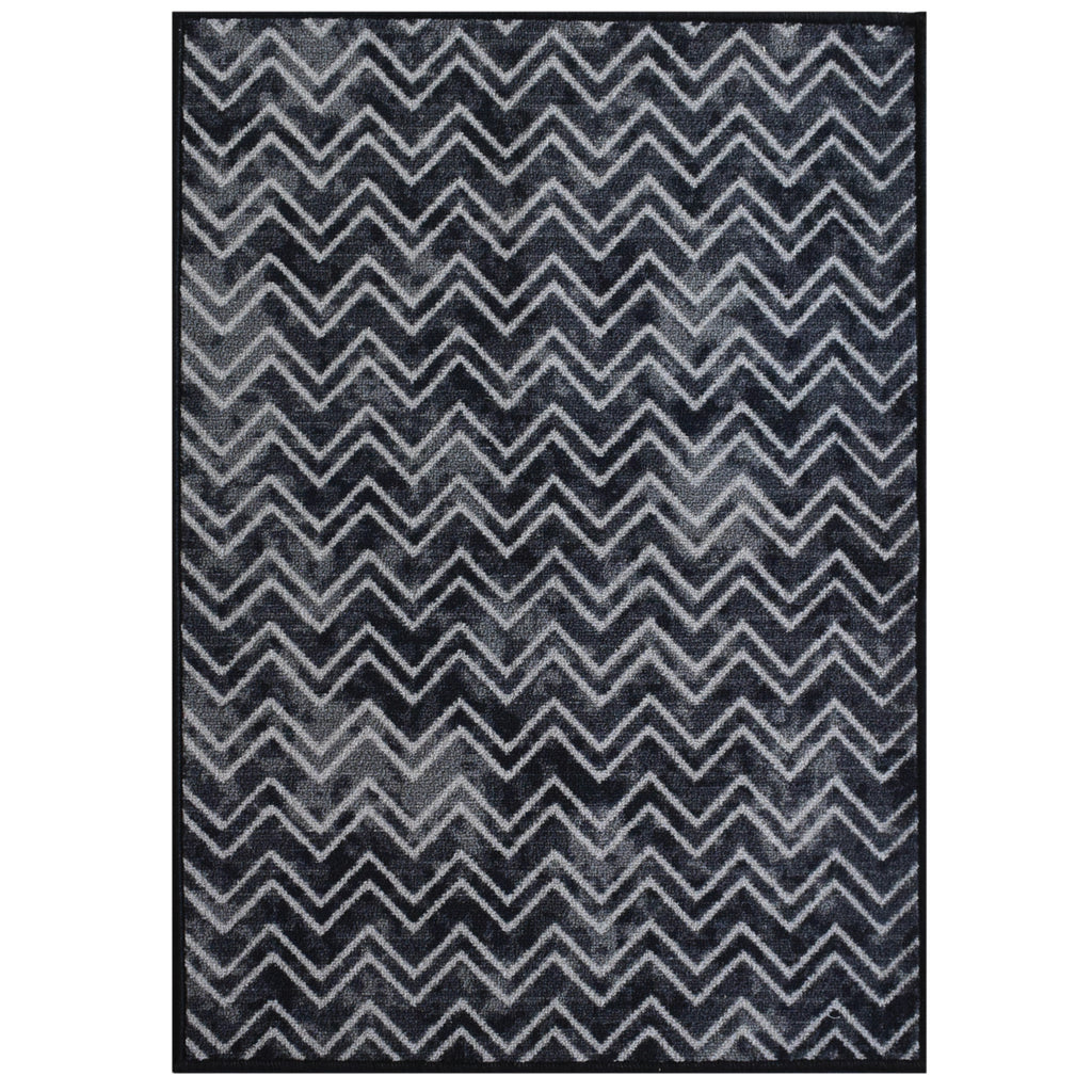 Decorative Area Rug and Carpet Runner for Stairs and Hallway, Chevron, Black iCustomRug