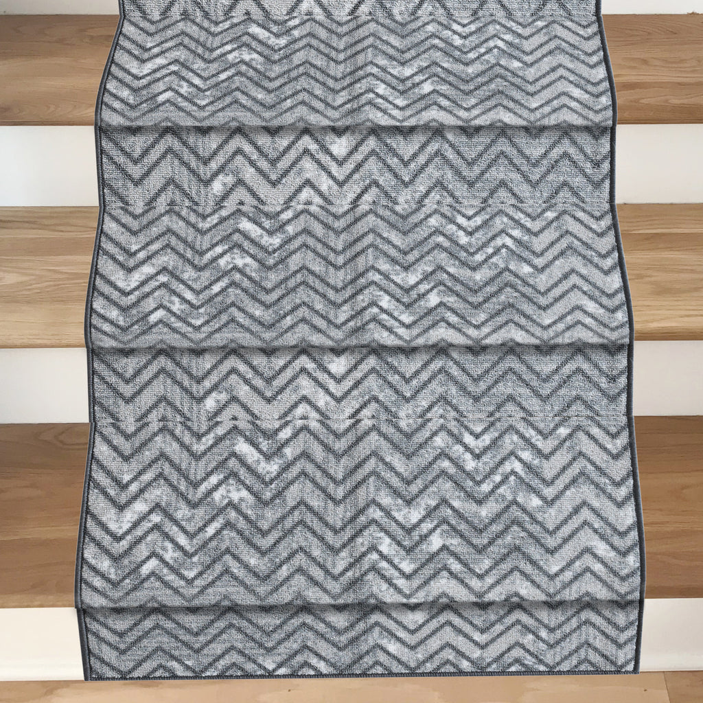 Decorative Area Rug and Carpet Runner for Stairs and Hallway, 8 Patterns - Customizable Lengths, Non-Skid Rubber Back, Chevron, Grey