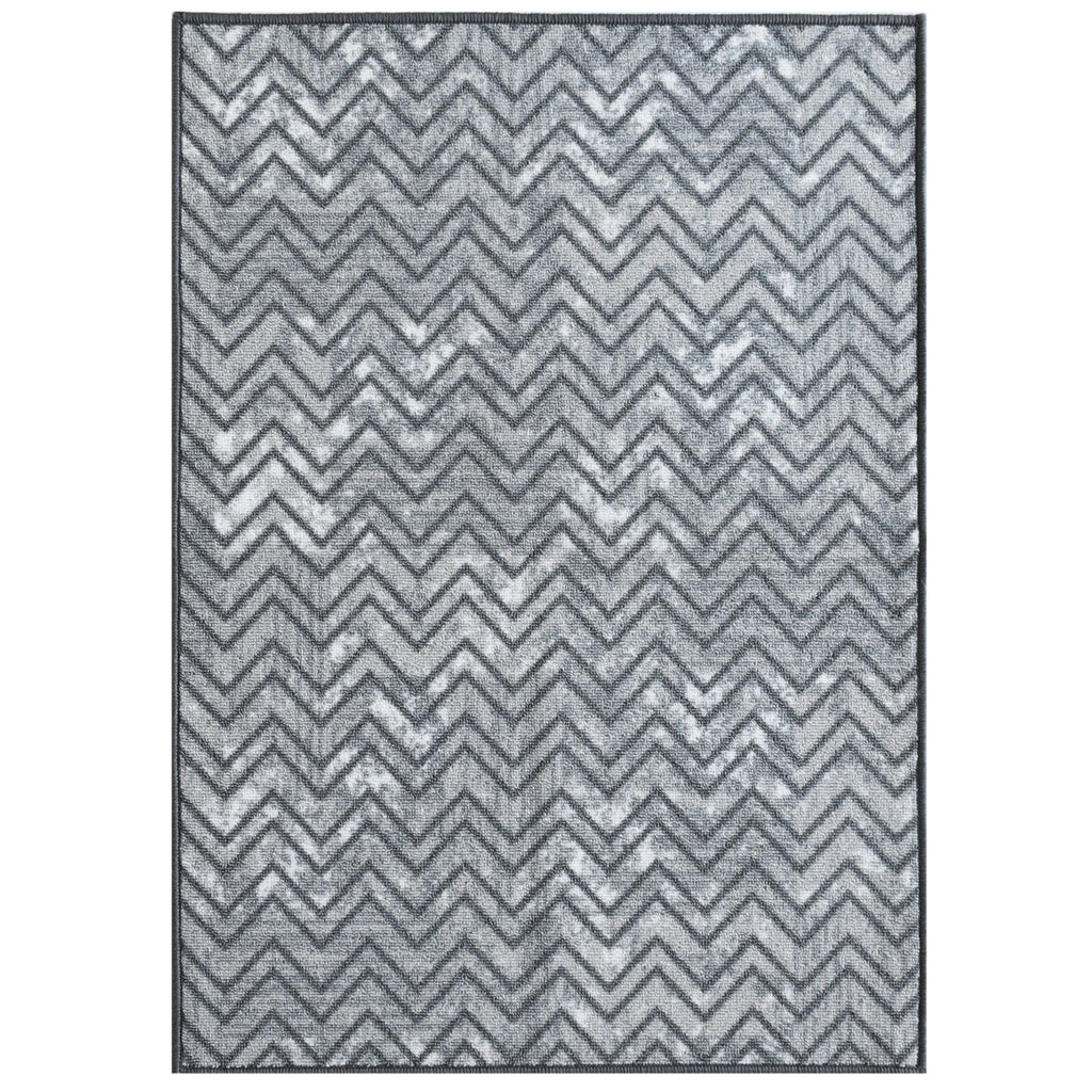 Decorative Area Rug and Carpet Runner for Stairs and Hallway, Chevron, Grey iCustomRug