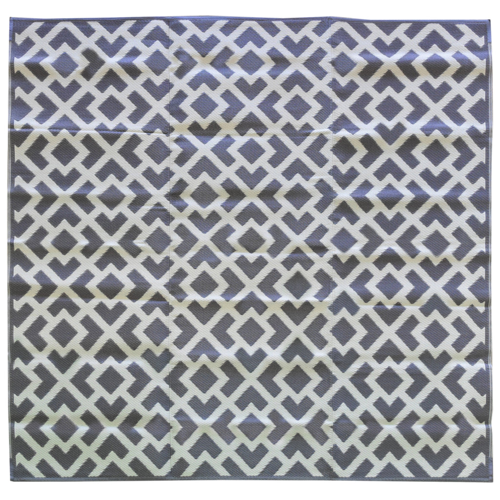 Reversible Square Outdoor Rug Grey and White