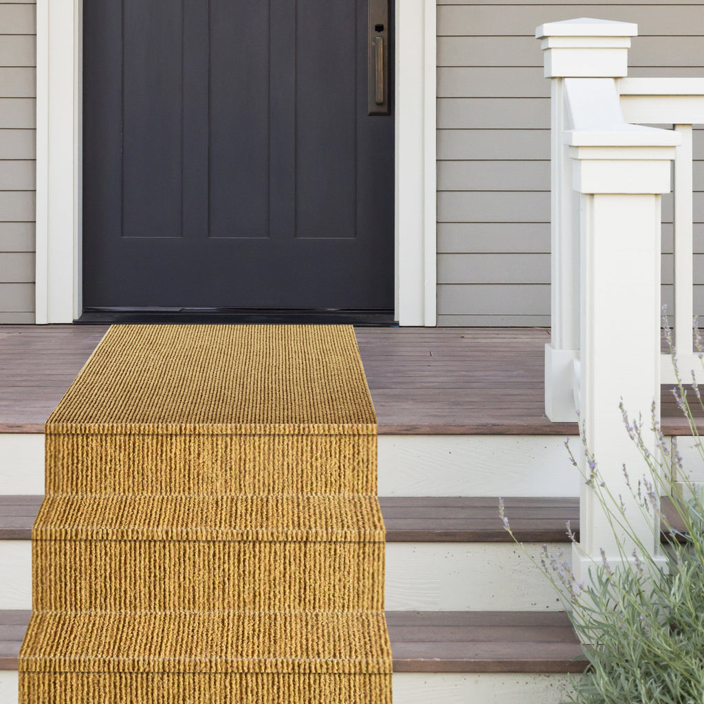 Sisal Ribbed Coco Runner/Mat/Area Rug.  Non-Slip Thick Rubber Backing. Heavy Duty for Interior/Exterior use. (3' and 4' Widths)