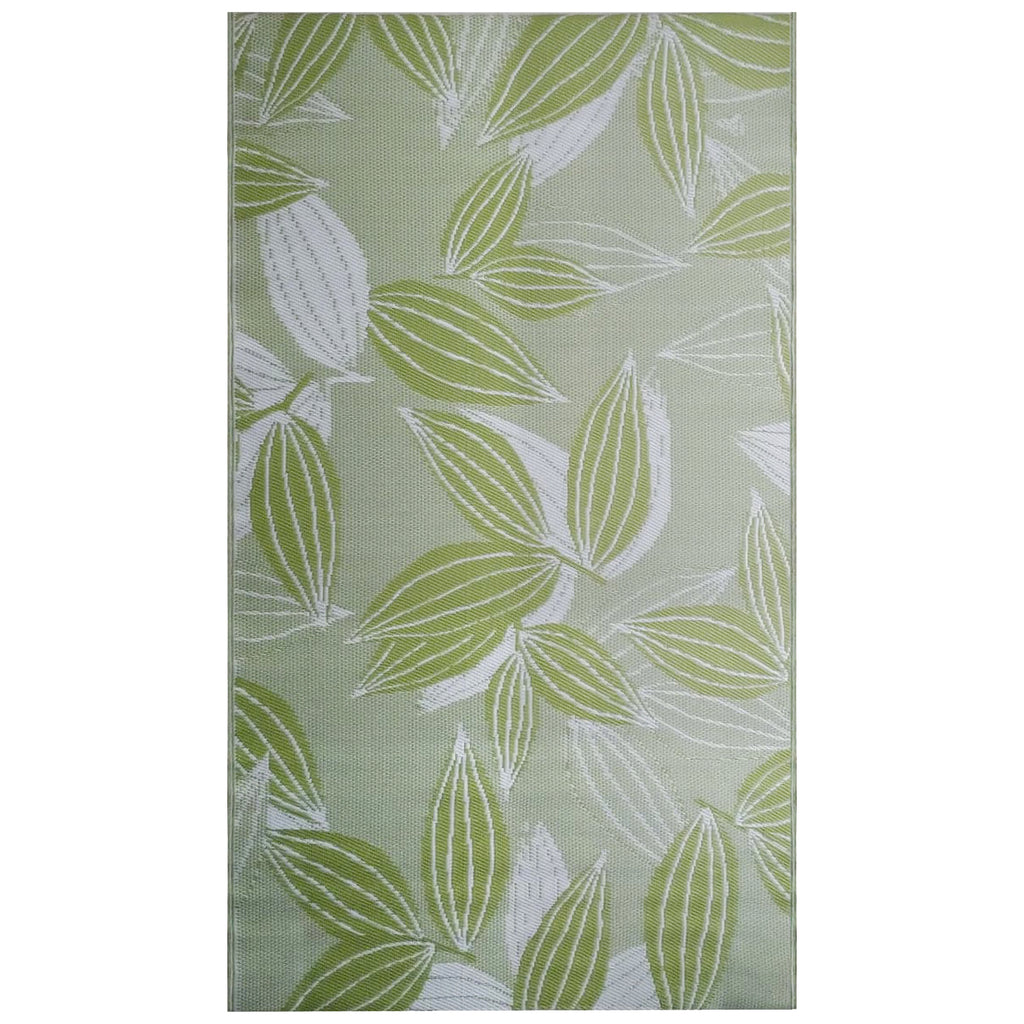 Reversible Outdoor Rug Leaves Green and White