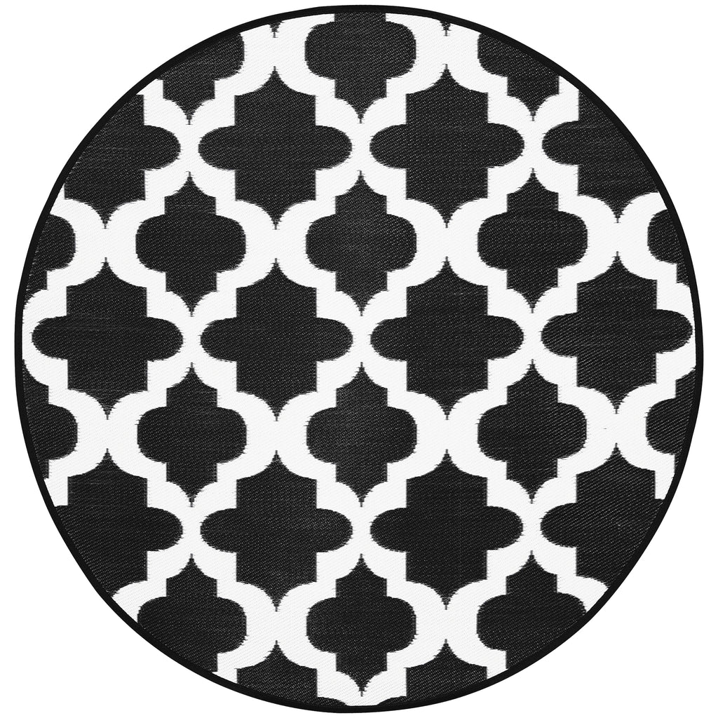 Reversible Round Outdoor Rug Erie Black